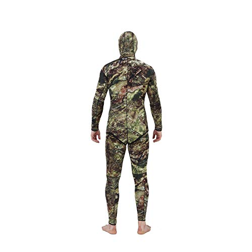 Flexel Camo Spearfishing Wetsuits Men Premium Camouflage Neoprene 2-Pieces Hoodie Freediving Fullsuit for Scuba Diving Snorkeling Swimming (5mm Grass camo, 2X-Large) by Flexel (Image #3)