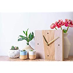 WoodenStuff Small Wood Wall Clocks Decorative Luxury Style Frame Wall Mounted Designer Contemporary Beautiful Natural Industrial Wooden Clock for Home Living Room Bedroom Kitchen Decor