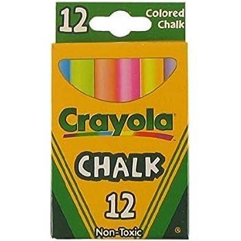 Crayola Non-Toxic White Chalk(12 ct box)and Colored Chalk(12 ct box) Bundle (2x combo)