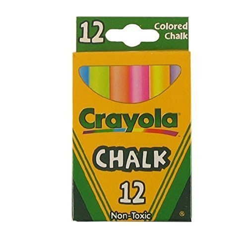 Crayola Non-Toxic White Chalk(12 ct box)and Colored Chalk(12 ct box) Bundle (2x combo)
