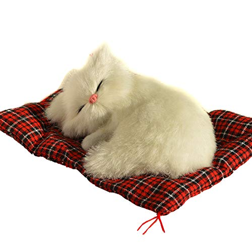 STP-US Lifelike Sleeping CAT in Rug Figurine Soft Faux Fur Realistic Furry Tabby (White)