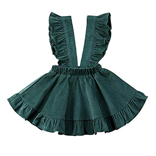 YOHA Baby Girls Cotton Soft Bow Jumper Dress Suspender Skirts Pinafore Dress Corduroy Green,110