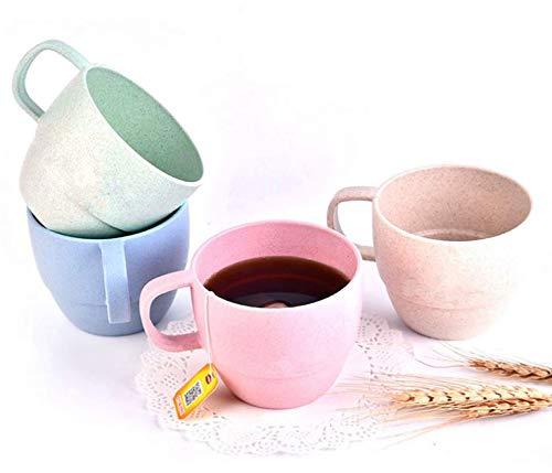 Eco Friendly Healthy Wheat Straw Plastic Cup Set - Multi color -10 oz Capacity - Bio Degradable, Reusable, Light Portable for Eco Conscious Men Women (Multi Color, 8) Eco Friendly Tea Set