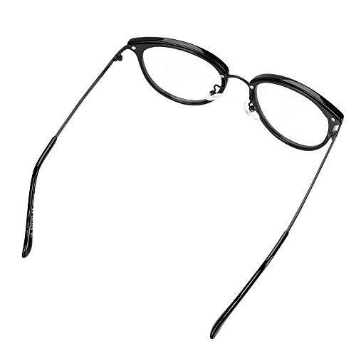 Maquillage UV à de Protection Léger lunette Lunette Voyage Monture Plastique Brilant Mode Anti en Ovale Oculaire Transparent Soleil Acier Lecture Rétro Noir Unisex Rayonnement 4ZHpx