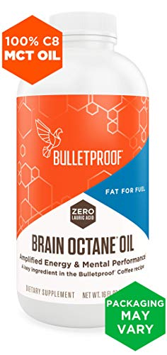 Bulletproof Brain Octane MCT Oil, Perfect for Keto and Paleo Diet, 100% Non-GMO Premium C8 Oil, Ketogenic Friendly, Responsibly Sourced from Coconuts Only, Made in The USA (16 oz)