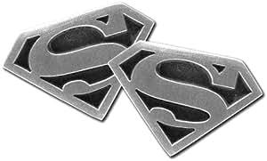 Superman CUE7003 - Gemelos de hombre de rodio (bañado)