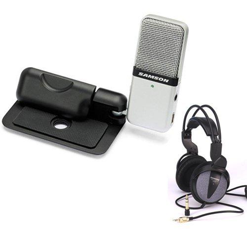 Samson SAGOMIC Clip-on USB microphone (Titanium) with Samson Open-Ear Headphones (Headphone Titanium Folding)