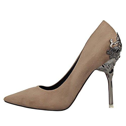 Zapatos Damas Zapatos Sexy Estilo Zapatos con de en tacón Finos Europeo Forrado Solo Trabajo de de Gamuza Khaki de YMFIE Piel Y qF8TZ0UF