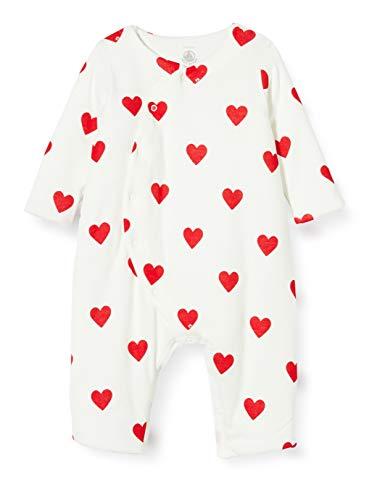 Petit Bateau 5810501 overall met rode harten voor baby's, meisjes aan de zijkant