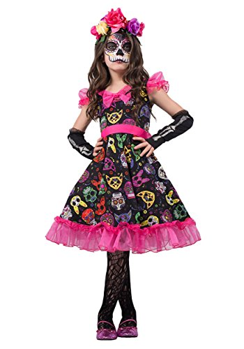 Sugar Skull Costume Clothes (Sugar Skull Sweetie Girls Costume Fancy Dress Child Day of The Dead)