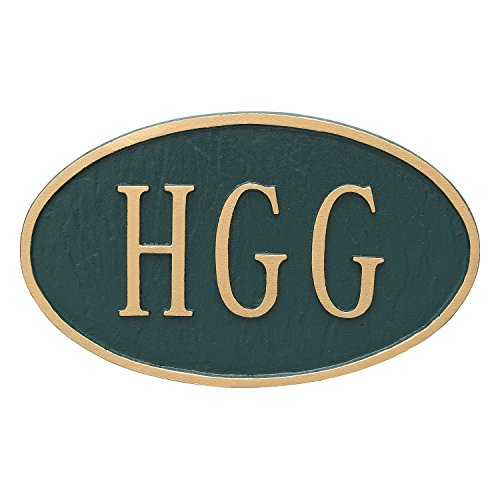 Montague Metal TSH-0001S1-H-HGG 8.5'' x 13.5'' Double Sided Hanging Classic Oval Address Sign Plaque, Standard, Hunter Green/Gold by Montague Metal (Image #1)