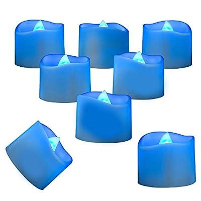 Homemory LED Tea Lights Candles, Set of 24 Flickering Flameless Tea Candles, Long-Lasting Battery Operated Tea Lights, Indigo Blue Electric TeaLight