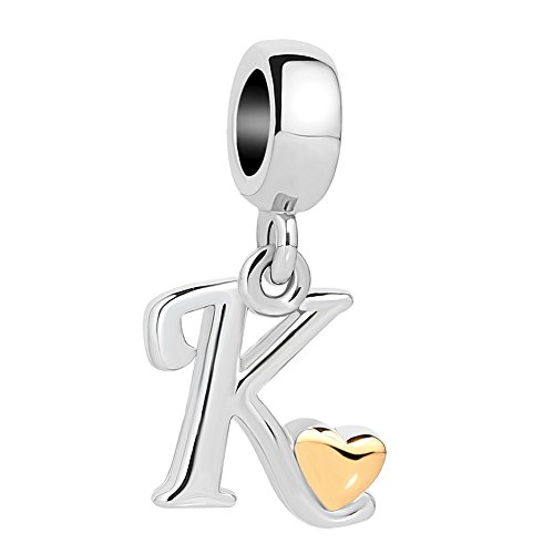 QueenCharms Initial A-Z Letter Charm Golden Heart Alphabet Dangle Beads for Bracelets & Necklaces (K)