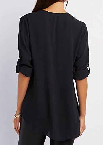 OL Hauts Blouse Noir Longues Bureau Col Classique Mode Tunique Chemisier Shirt Chic Tee Top Mousseline Femme V Manches Top Chiffon Zipp YOSICIL Chemise BpqRPSwHx