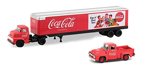 M2 Machines 1956 Ford COE & 1956 Ford F-100 Truck (Coke Red Body) Auto-Haulers Coca-Cola Release 2 Castline 2018 Premium Edition 1:64 Scale Die-Cast Vehicle Set (50S01 18-04)