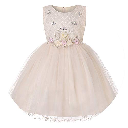 Qirong Dresses for Wedding Party Baby Girls Sleeveless Princess Dress Children Party Vestidos New Year Clothes ()