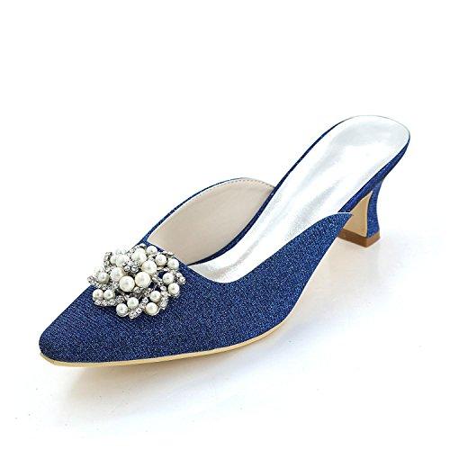 L@YC Damen High Heels Frühling / Sommer / Herbst / Seide Hochzeit / Party abend & Cool Pantoffeln Blue