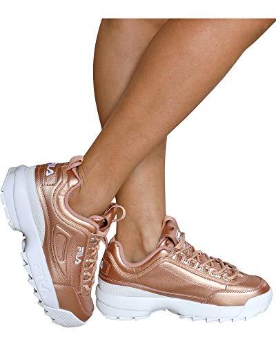 (Fila Womens Disruptor II Premium Metallic Rose Gold/White Sneaker - 7.5)