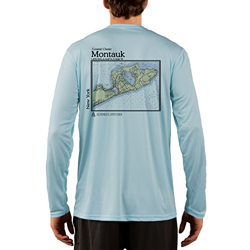 Coastal Classics Montauk Chart Men's UPF 50+ Long Sleeve T-Shirt X-Large Arctic Blue (50 Long Sleeve T-shirt)