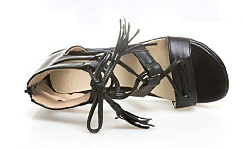 Chicas Dew Colores Gruesas Toe Bottom Compras Bottom NVLXIE PU Plano Sandalias 5cm black Tres Verano Correa Mujer De ZqxqvX8p