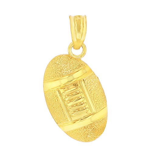 10k Gold Football Pendant - CaliRoseJewelry 10k Gold Football Pendant (Yellow-Gold)