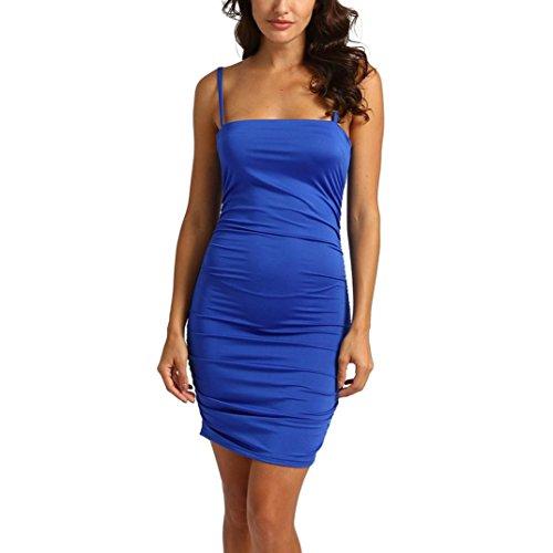 STRIR Vestidos Mujer Casual,Vestido Ajustado sin Tirantes del Coctel del Arco sin Respaldo sin Mangas del Vestido de Las Mujeres Atractivas Azul