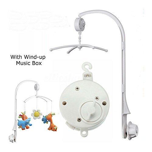 Unbranded White 4Pcs Baby Crib Mobile Bed Bell Toy Holder Arm Bracket + Wind-up Music Box from Unbranded