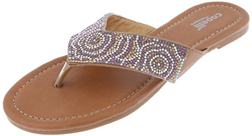 Capelli New York Ladies Flip Flops with Small Crystal Embellishments Tan 6