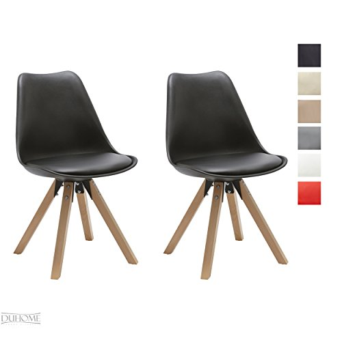 Duhome 2 Pcs Retro Dining Chairs Eames Style Side Chair Synthetic Leather Seat Cushion WY-518M 41W2LBtNlAL