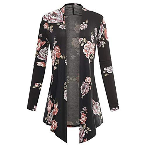 TOPUNDER Long Sleeve Irregular Print Casual Cardigan for Women Coat Tops ()