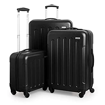 Image of Luggage SUITLINE Suitcase Set 3 Hard Shell Trolley Suitcase Cabin Luggage + Medium Suitcase + Large Travel Suitcase Set Suitcase Set, Luggage Set, 88031004, Black, 88031004