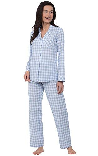 PajamaGram Plaid Pajamas for Women - Boyfriend Style PJs, Heart2Heart Gingham