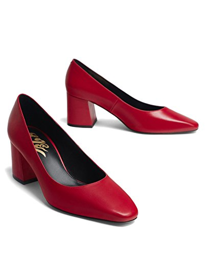 Uterque Women Red leather love high heel court shoes 4143/351 (40 EU   9 US   7 UK) by Uterque (Image #1)