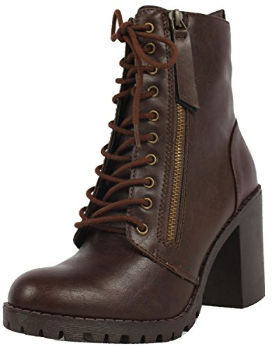 SODA Women's Malia Faux Leather Lace Up Chunky Ankle Boot, Brown, 7 M US