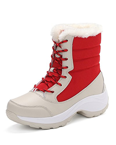 Mrs Duberess Women's Outdoor Lace UP Fur Lined Waterproof Winter Snow Boots Red