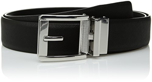 Comfort Click Men's Adjustable Perfect Fit Ratchet Belt-As Seen On TV, Black/Polished Nickel - Saffiano, ONE SIZE