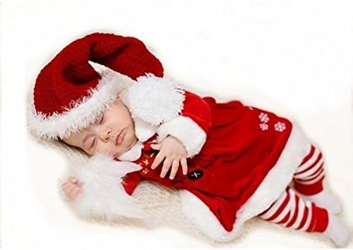 hibote Navidad Nuevo bebé de la Navidad Niño Niño Niña Ropa de Navidad del Sombrero del Ganchillo Top Mamelucos de Vestuario