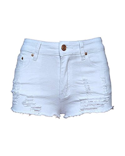 Xudom Womens Ripped Denim Shorts Mid Waist Plus Size Cutoff Distressed White US 6-8 by Xudom