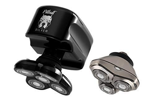 Skull Shaver Pitbull Silver Plus Electric Razor -for a Perfect Bald Look Wet/Dry 5 Head Include CR3 4d Cordless USB Rechargeable Rotary Shaver (Best Wet Dry Electric Shaver For Bald Head)