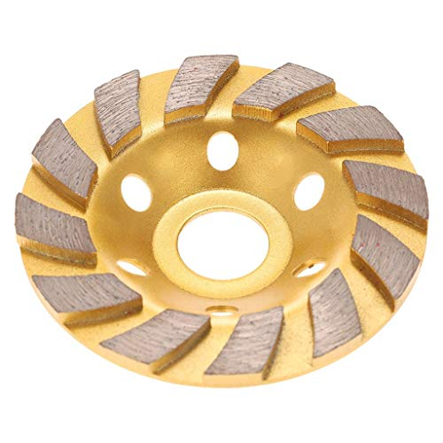 QUICATCH 4inch (100mm) Professional Diamond Two Row Segment Grinding Wheel Disc for Marble Tile Concrete and Rock for DIY Grinding(Gold)