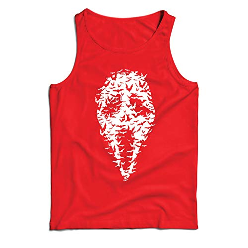 lepni.me Men's Tank Top Ghost Scary Face Bats, Halloween Party Costume (Small Red Multi Color) -