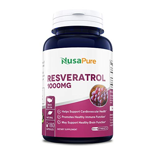 : Resveratrol 1000mg 180caps (Non-GMO & Gluten Free) Promotes Heart Health and Balances Blood Pressure, Helps Balance Hormones