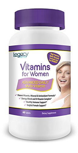 Best Vitamins For Women by Legacy Nutra * Advanced Daily Multivitamin with Antioxidant Immune Support, Natural Energy w/o Caffeine, Vitamin B Complex & Female Support For The Unique Needs of a Woman