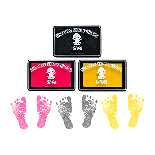 Baby Hand and Footprint Kit by Forever Fun Times   Get Hundreds of Detailed Prints with One Baby Safe Ink Pad   Easy to Clean, and Works with Any Paper or Card   Clean and Safe (G Bundle)