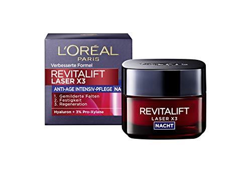 L'Oréal Paris Hyaluronsäure Nachtcreme, Anti-Aging Gesichtscreme, Revitalift Laser x3 Nachtpflege für Anti Falten, 50ml