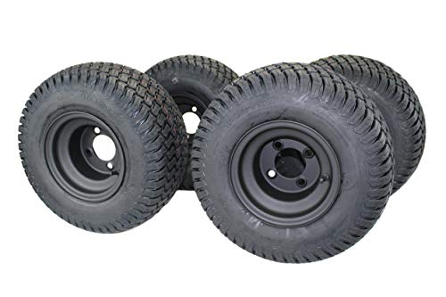 8″ MATTE BLACK STEEL GOLF CART WHEELS AND 18X8.50-8″ TURF 4 PLY TIRES – (SET OF 4)