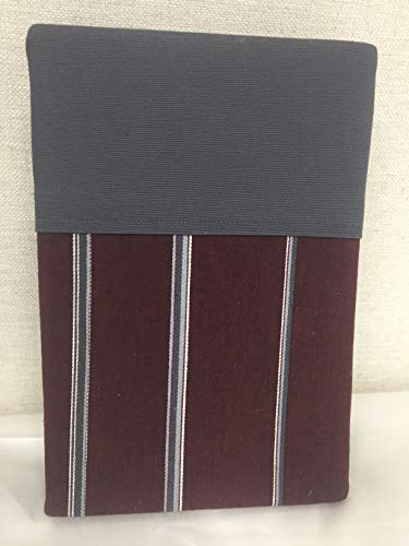 (Nautica Drapery Panel, Gray with Marooon and Gray Stripes at Bottom, 42 Inches W x 84 Inches L per Panel (Set of 2))