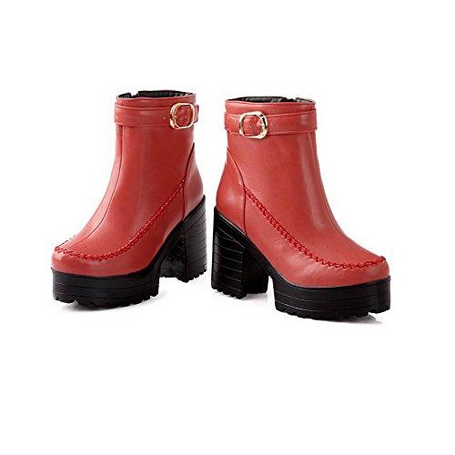 Amoonyfashion Mujer Round Round Toe High Heels Pu Soft Material Solid Botas Con Botón De Cuero Jacinto