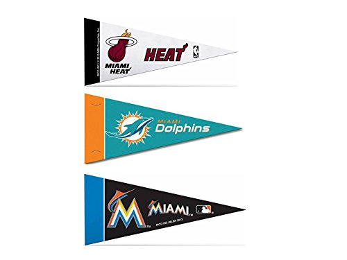 Dolphins Felt Pennant Miami (Officially Licensed Mini Pennants Fan Pack Set Includes Marlins, Dolphins, Heat 4