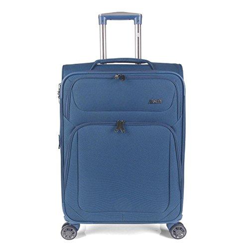 JASLEN - 51970 Valise Trolley 70 cm extensible de grande taille en polyester. 2 compartiments extérieurs. Semi-rigide, résistante et légère. XL. Poignée télescopique, Color bleu